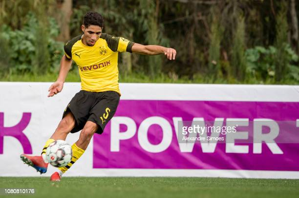 Achraf Hakimi of Borussia Dortmund scores the goal to the 32 during a friendly match against Willem II Tilburg as part of the training camp on...