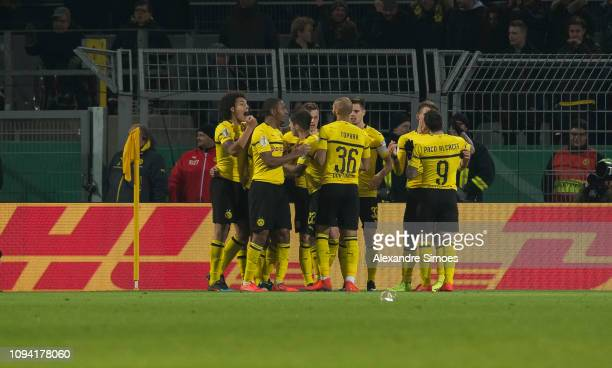 Achraf Hakimi of Borussia Dortmund scores the goal to the 32 during the DFB Cup match between Borussia Dortmund and Werder Bremen at the Signal Iduna...