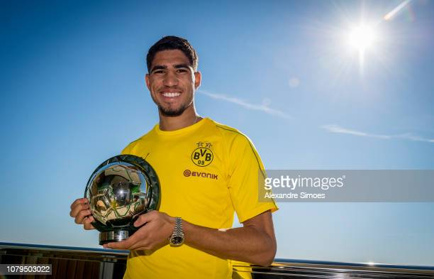 Achraf Hakimi of Borussia Dortmund with his CAF Award for best youth player of the year on January 09 2019 in Marbella Spain