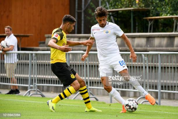 Achraf Hakimi of Dortmund and Roberto Rodriguez of FC Zuerich battle for the ball during the friendly match between Borussia Dortmund and FC Zuerich...