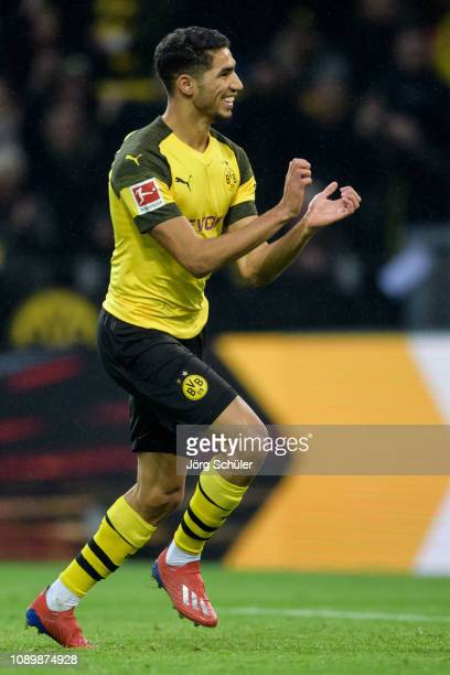 Achraf Hakimi of Dortmund celebrates after scoring the 10 lead during the Bundesliga match between Borussia Dortmund and Hannover 96 at the Signal...