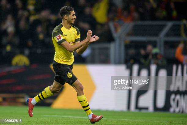 Achraf Hakimi of Dortmund celebrates his goal for the 10 lead during the Bundesliga match between Borussia Dortmund and Hannover 96 at the Signal...