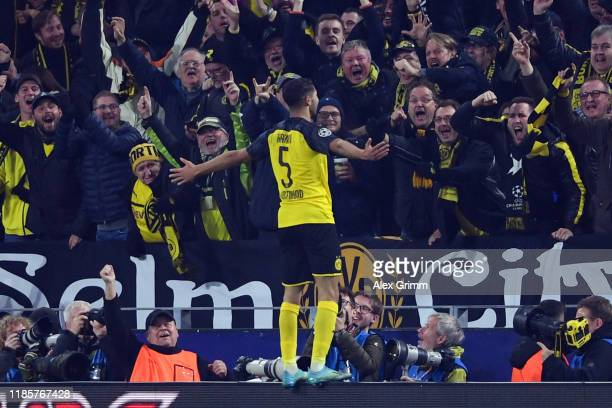 Achraf Hakimi of Dortmund celebrates his team's third goal during the UEFA Champions League group F match between Borussia Dortmund and Inter at...