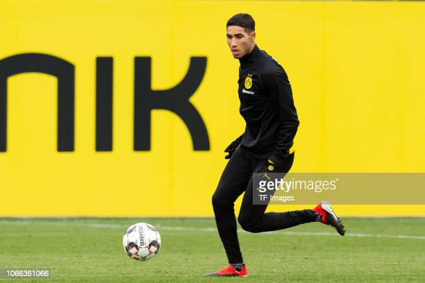 Achraf Hakimi of Dortmund controls the ball during a training session at BVB training center on November 29 2018 in Dortmund Germany