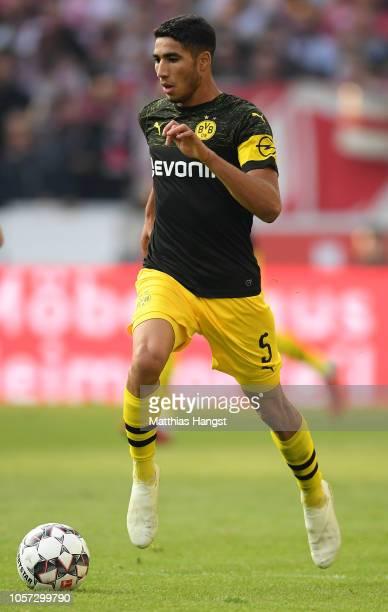 Achraf Hakimi of Dortmund controls the ball during the Bundesliga match between VfB Stuttgart and Borussia Dortmund at MercedesBenz Arena on October...