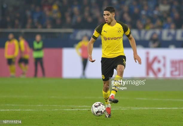Achraf Hakimi of Dortmund controls the ball during the Bundesliga match between FC Schalke 04 and Borussia Dortmund at VeltinsArena on December 8...