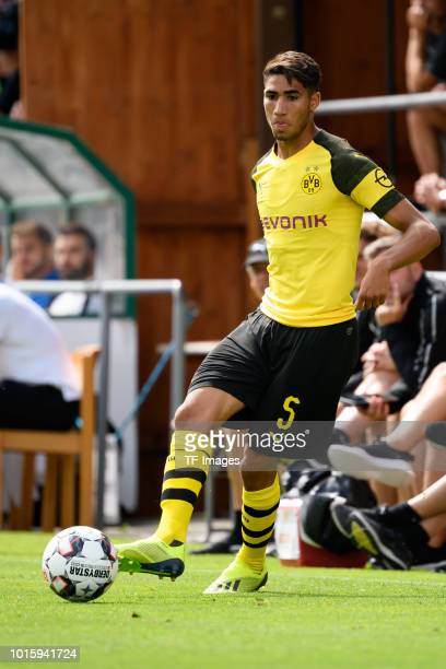 Achraf Hakimi of Dortmund controls the ball during the friendly match between Borussia Dortmund and FC Zuerich on August 7 2018 in Bad Ragaz...