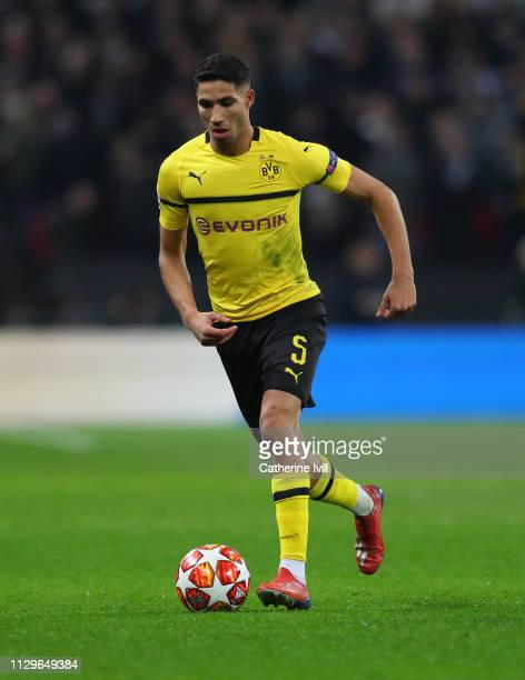 Achraf Hakimi of Dortmund during the UEFA Champions League Round of 16 First Leg match between Tottenham Hotspur and Borussia Dortmund at Wembley...