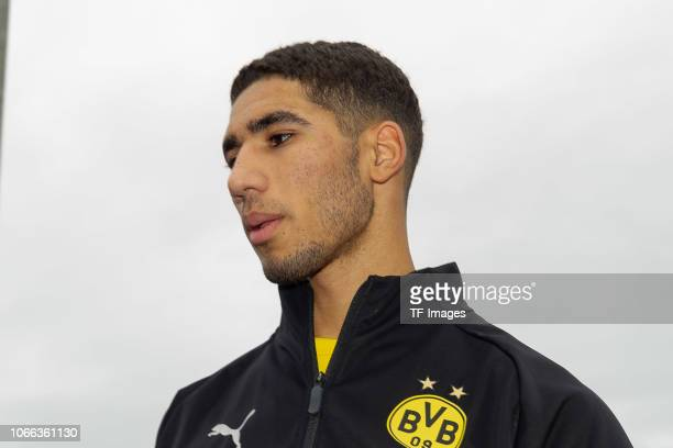 Achraf Hakimi of Dortmund looks on during a training session at BVB training center on November 29 2018 in Dortmund Germany