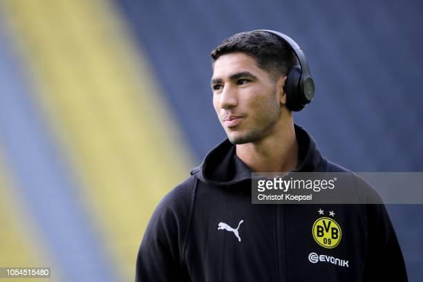 Achraf Hakimi of Dortmund looks on during the Bundesliga match between Borussia Dortmund and Hertha BSC at Signal Iduna Park on October 27 2018 in...