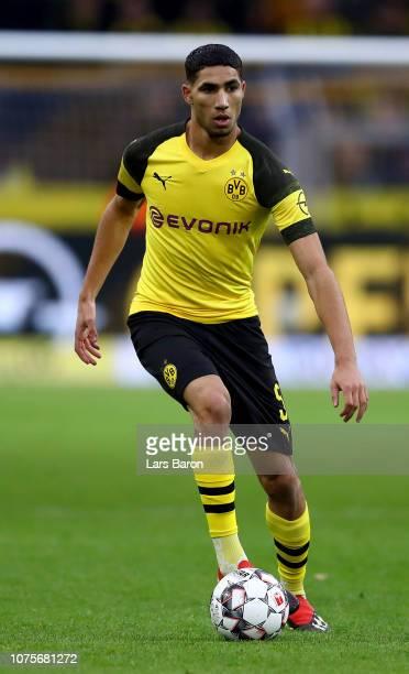 Achraf Hakimi of Dortmund runs with the ball during the Bundesliga match between Borussia Dortmund and SportClub Freiburg at Signal Iduna Park on...