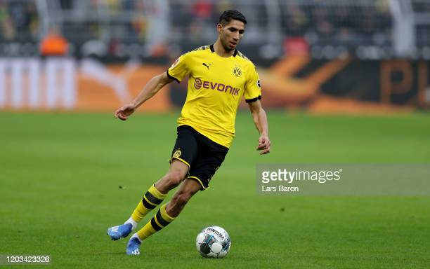 Achraf Hakimi of Dortmund runs with the ball during the Bundesliga match between Borussia Dortmund and 1. FC Union Berlin at Signal Iduna Park on...