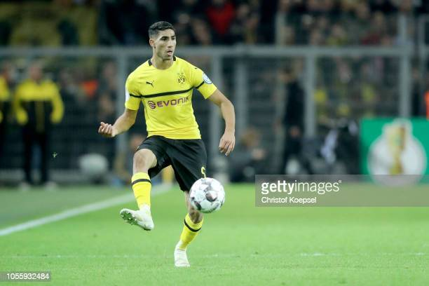 Achraf Hakimi of Dortmund runs with the ball during the DFB Cup match between Borusssia Dortmund and 1 FC Union Berlin at Signal Iduna Park on...