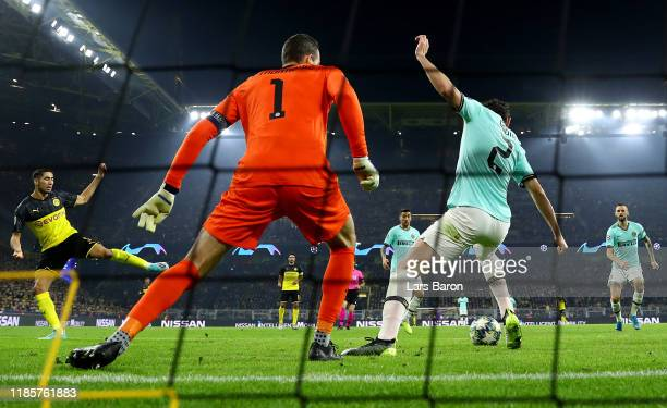 Achraf Hakimi of Dortmund scores his teams first goal during the UEFA Champions League group F match between Borussia Dortmund and Inter at Signal...