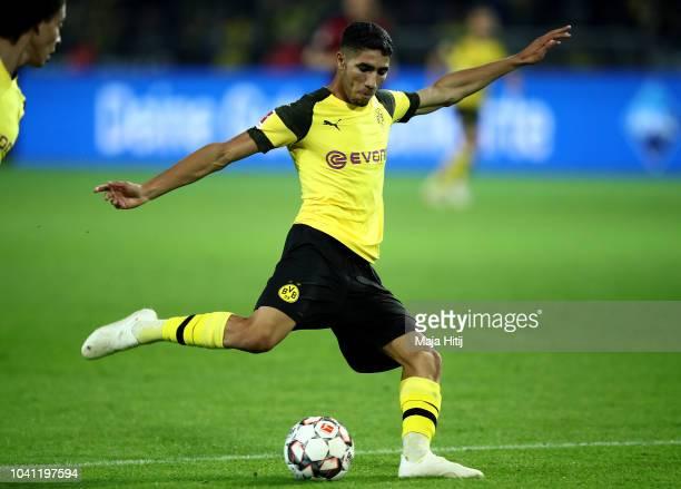Achraf Hakimi of Dortmund scores the 3rd goal during the Bundesliga match between Borussia Dortmund and 1 FC Nuernberg at Signal Iduna Park on...