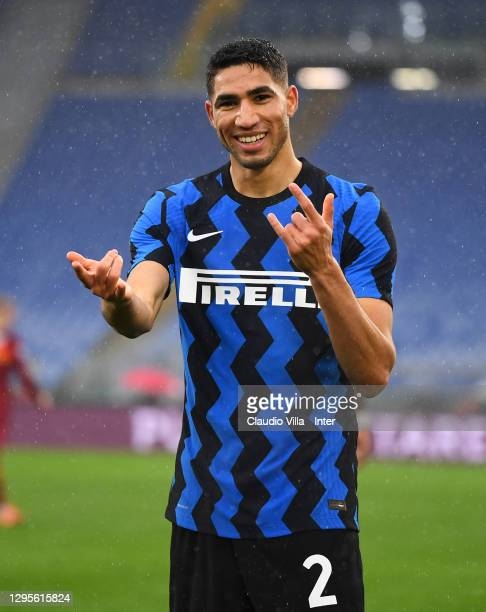 Achraf Hakimi of FC Internazionale celebrates after scoring a goal during the Serie A match between AS Roma and FC Internazionale at Stadio Olimpico...