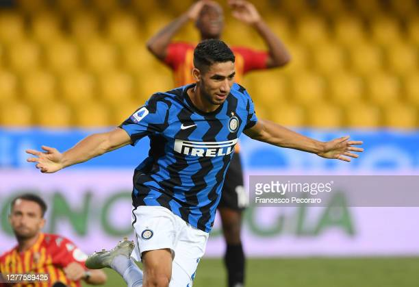 Achraf Hakimi of FC Internazionale celebrates after scoring the 1-4 goal during the Serie A match between Benevento Calcio and FC Internazionale at...