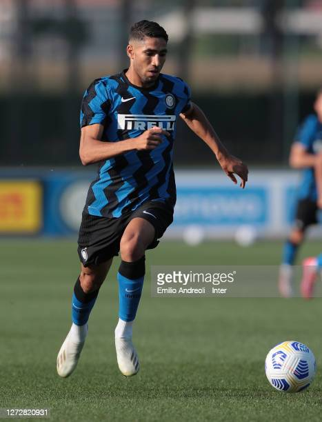 Achraf Hakimi of FC Internazionale in action during the PreSeason Friendly match between FC Internazionale and Lugano at the club's training ground...