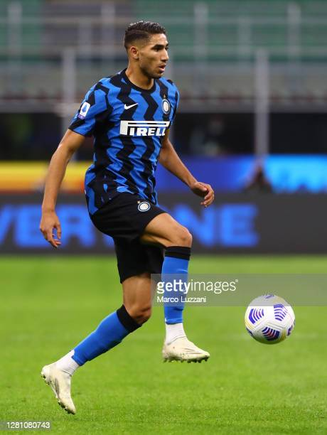 Achraf Hakimi of FC Internazionale in action during the Serie A match between FC Internazionale and AC Milan at Stadio Giuseppe Meazza on October 17,...