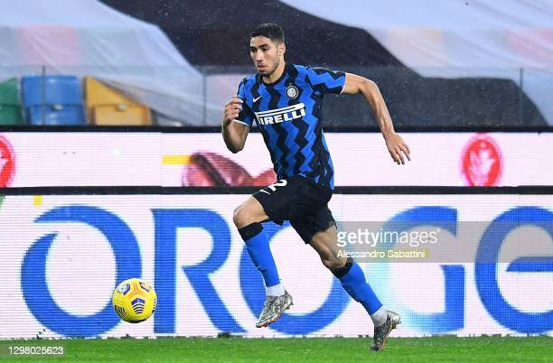 Achraf Hakimi of FC Internazionale in action during the Serie A match between Udinese Calcio and FC Internazionale at Dacia Arena on January 23, 2021...