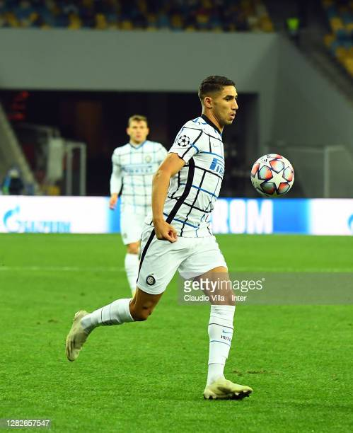Achraf Hakimi of FC Internazionale in action during the UEFA Champions League Group B stage match between Shakhtar Donetsk and FC Internazionale at...