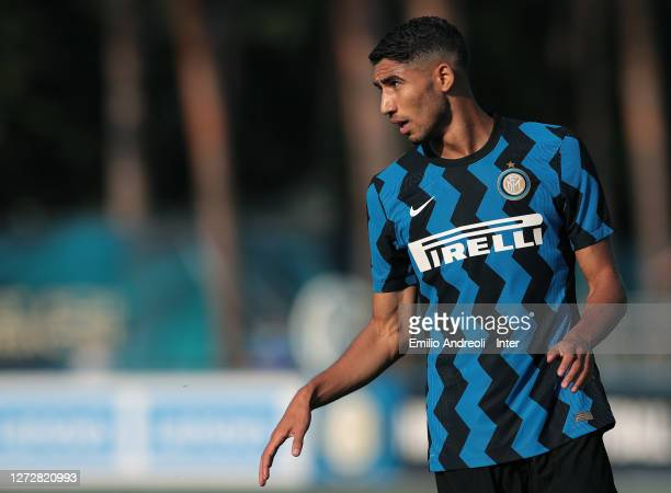 Achraf Hakimi of FC Internazionale looks on during the PreSeason Friendly match between FC Internazionale and Lugano at the club's training ground...