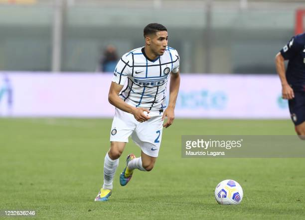 Achraf Hakimi of Inter during the Serie A match between FC Crotone and FC Internazionale at Stadio Comunale Ezio Scida on May 01, 2021 in Crotone,...