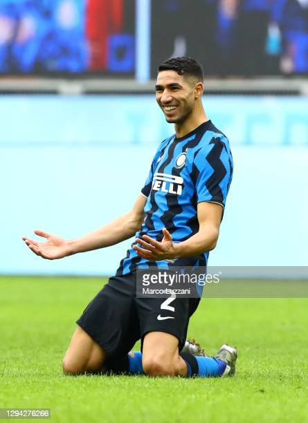 Achraf Hakimi of Inter Milan celebrates after scoring their sides sixth goal during the Serie A match between FC Internazionale and FC Crotone at...