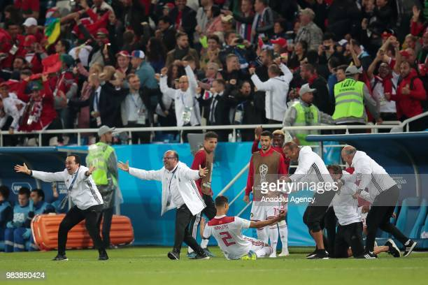 Achraf Hakimi of Morocco celebrates after a goal during the 2018 FIFA World Cup Russia group B match between Spain and Morocco at the Kaliningrad...