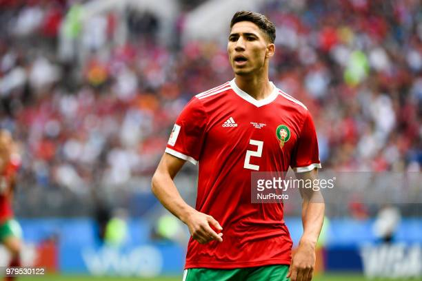 Achraf Hakimi of Morocco during the 2018 FIFA World Cup Group B match between Portugal and Morocco at Luzhniki Stadium in Moscow Russia on June 20...