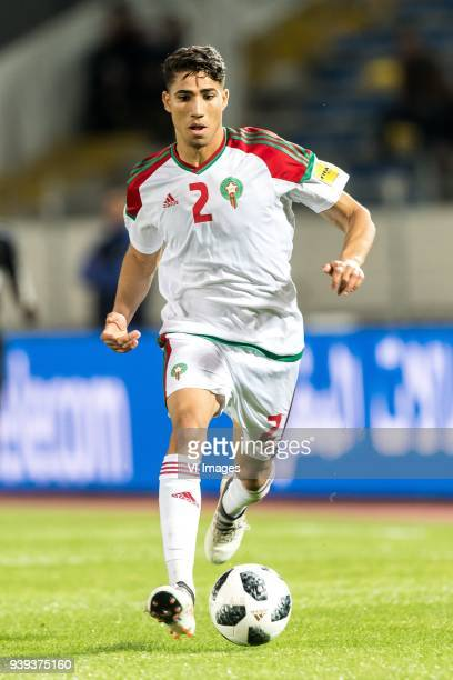 Achraf Hakimi of Morocco during the international friendly match between Morocco and Uzbekistan at the Stade Mohammed V on March 27 2018 in...