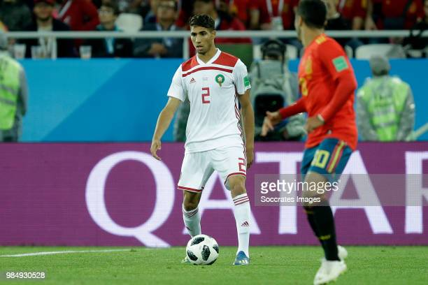 Achraf Hakimi of Morocco during the World Cup match between Spain v Morocco at the Kaliningrad Stadium on June 25 2018 in Kaliningrad Russia