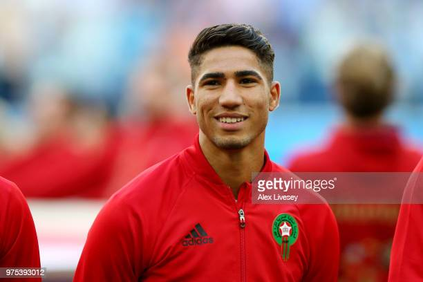 Achraf Hakimi of Morocco looks on during the 2018 FIFA World Cup Russia group B match between Morocco and Iran at Saint Petersburg Stadium on June 15...