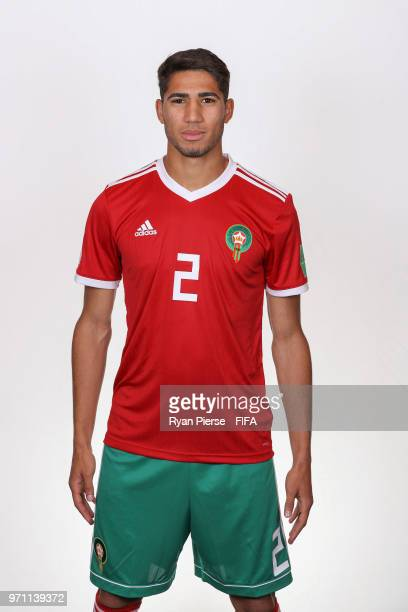 Achraf Hakimi of Morocco poses during the official FIFA World Cup 2018 portrait session on June 10 2018 in Voronezh Russia