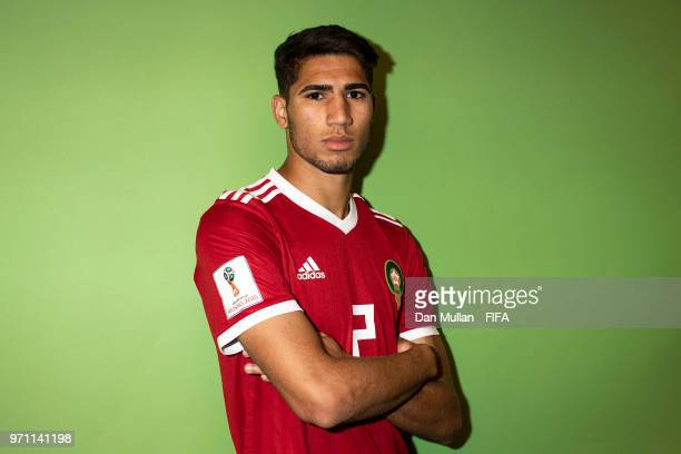 Achraf Hakimi of Morocco poses for a portrait during the official FIFA World Cup 2018 portrait session at on June 10 2018 in Voronezh Russia