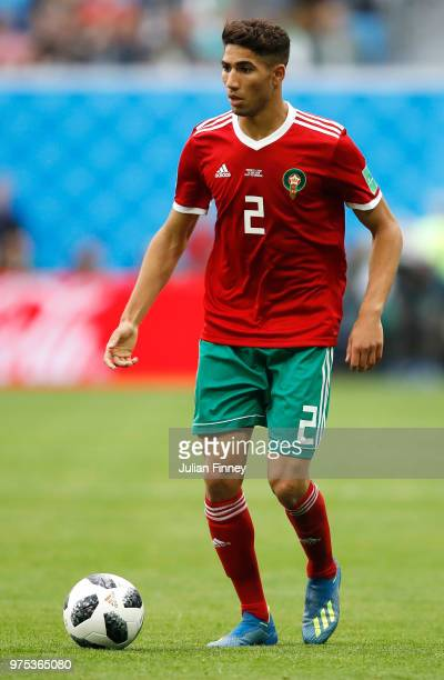 Achraf Hakimi of Morocco runs with the ball during the 2018 FIFA World Cup Russia group B match between Morocco and Iran at Saint Petersburg Stadium...