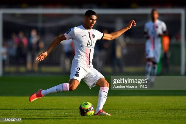 Achraf Hakimi of Paris Saint-Germain kicks the ball during the pre season friendly match between Paris Saint-Germain and US Orleans at Stade De La...