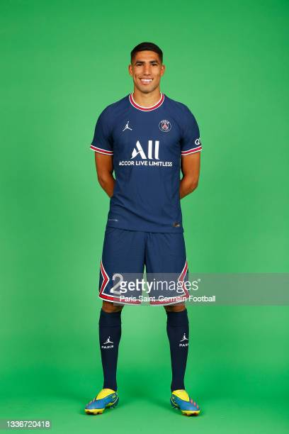 Achraf Hakimi of Paris Saint-Germain poses for a photo on August 11, 2021 in Paris, France.