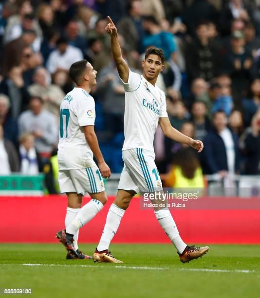 Achraf Hakimi of Real Madrid celebrates after scoring during the La Liga match between Real Madrid and Sevilla at Estadio Santiago Bernabeu on...