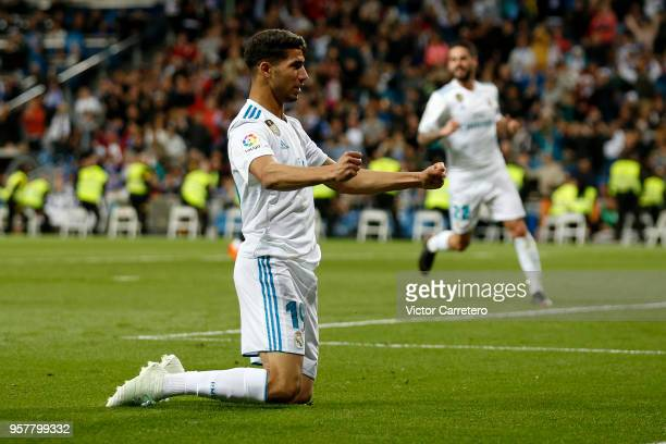 Achraf Hakimi of Real Madrid celebrates after scoring his team's fourth goal during the La Liga match between Real Madrid and Celta de Vigo at...
