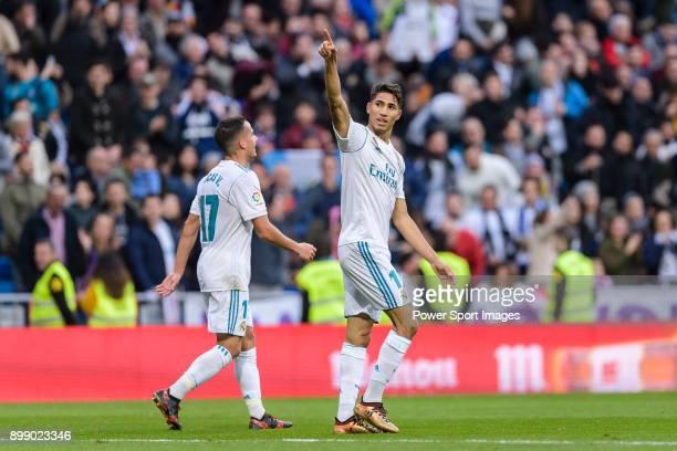 Achraf Hakimi of Real Madrid celebrates his goal during La Liga 201718 match between Real Madrid and Sevilla FC at Santiago Bernabeu Stadium on 09...