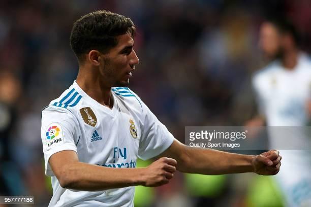 Achraf Hakimi of Real Madrid celebrates scoring his team's fourth goal during the La Liga match between Real Madrid and Celta de Vigo at Estadio...