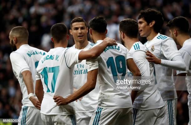 Achraf Hakimi of Real Madrid CF celebrates after scoring a goal during the La Liga match between Real Madrid CF and Sevilla FC at Estadio Santiago...