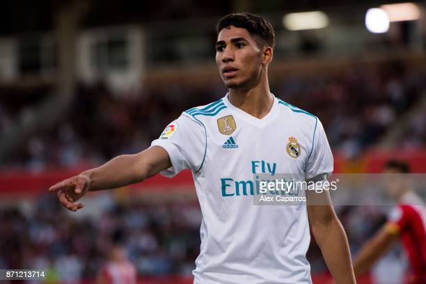 Achraf Hakimi of Real Madrid CF gestures during the La Liga match between Girona and Real Madrid at Estadi de Montilivi on October 29, 2017 in...