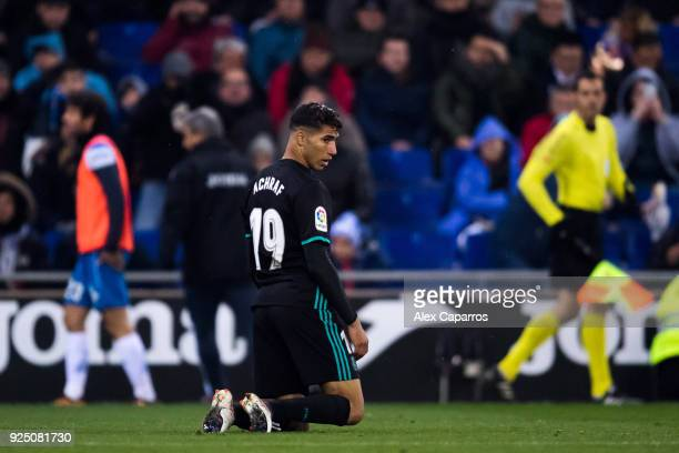 Achraf Hakimi of Real Madrid CF reacts during the La Liga match between Espanyol and Real Madrid at RCDE Stadium on February 27 2018 in Barcelona...