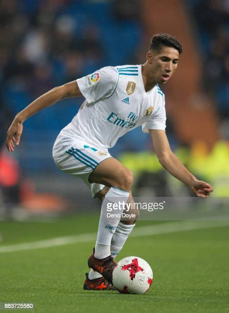 Achraf Hakimi of Real Madrid CF takesin action during the Copa del Rey Round of 32 Second Leg match between Real Madrid and Fuenlabrada at Estadio...