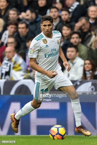 Achraf Hakimi of Real Madrid during the La Liga Santander match between Real Madrid CF and Sevilla FC on December 09 2017 at the Santiago Bernabeu...
