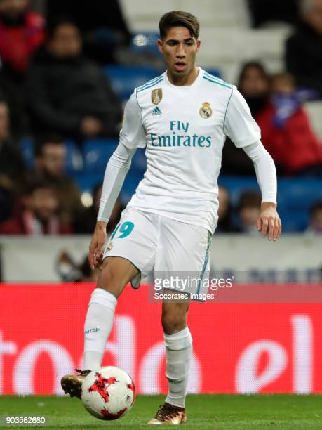 Achraf Hakimi of Real Madrid during the Spanish Copa del Rey match between Real Madrid v Numancia on January 10 2018