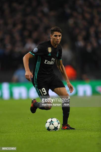 Achraf Hakimi of Real Madrid during the UEFA Champions League group H match between Tottenham Hotspur and Real Madrid at Wembley Stadium on November...