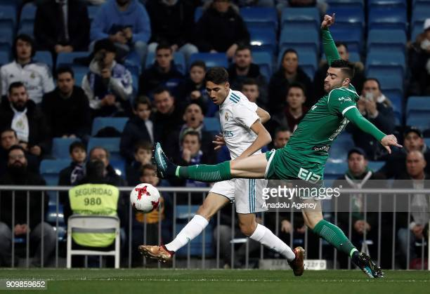 Achraf Hakimi of Real Madrid in action against Diego Rico of Leganes during the Copa del Rey quarter final match between Real Madrid and Leganes at...